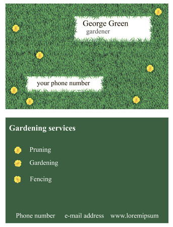 buttercups: Vector illustration of business card decorated with grass and yellow buttercups