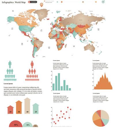 poblacion: ilustración vectorial de mapa del mundo con los elementos infográficos Vectores