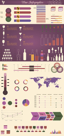 vector illustration of infographic elements concerning to winemaking themes Illustration