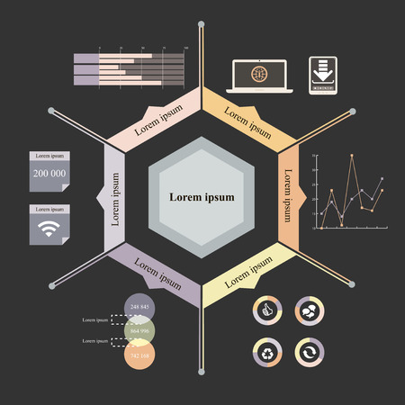 tooltip: Vector illustration of hexagon info graphics with 7 icons, 1 world map and 3 different kinds of diagram  Altogether file contains 6 groups of  elements, which can be ungrouped, combined or recolored