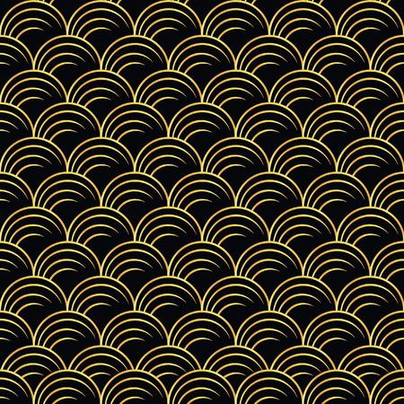 ilustración vectorial de patrón oro de transparente en estilo art deco Vectores