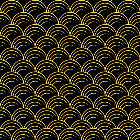 artdeco: vector illustration of golden seamless pattern in art deco style