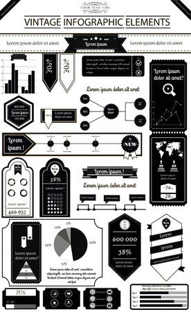 bar area: Vector illustration of infographic in vintage style with 10 icons, 1 world map and 5 different kinds of diagram  Altogether file contains 14 groups of  elements