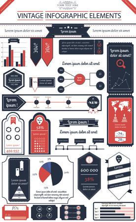 altogether: Ilustraci�n del vector de infograf�a en estilo vintage con 10 iconos, 1 mapa del mundo y 5 tipos diferentes de diagrama total archivo contiene 14 grupos de elementos