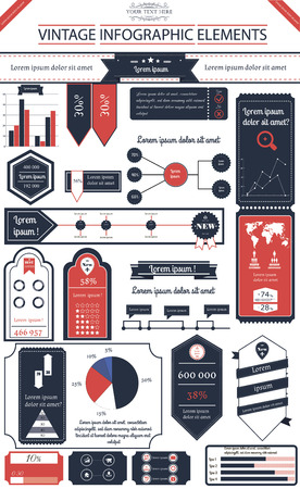 time line: Vector illustration of infographic in vintage style with 10 icons, 1 world map and 5 different kinds of diagram  Altogether file contains 14 groups of  elements