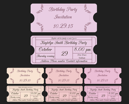 vector illustration of vintage invitations in form of ticket