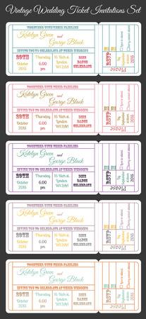 boarding card: set of vintage invitations Illustration