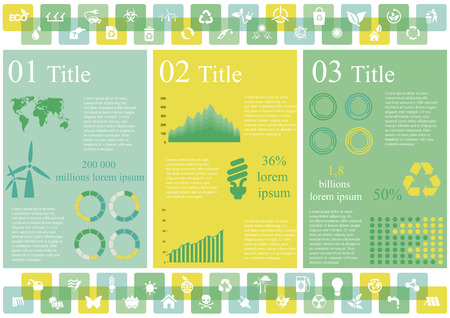 tooltip: Vector set of infographic elements, including 49 icons, world map, 5 types of diagram concerning to ecology and sustainable development themes