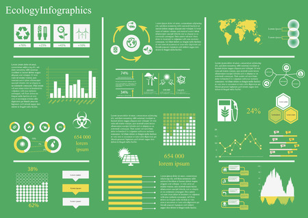 Vector set of infographic elements, including 27 icons, world map, 8 types of diagram diagram concerning to ecology,energy and sustainable development themes Vector