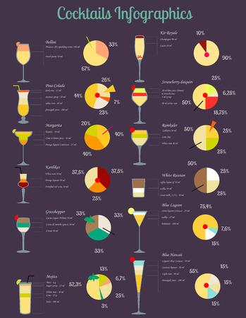 Vector illustratie van cocktails set vertegenwoordigd door infographics Stock Illustratie