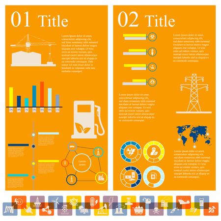 Vector set of infographic elements consisting of diagrams and icons, concerning to power and energy themes Illustration