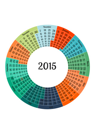 Vector illustration of Calendar 2015 year template in form of circle