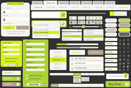 Vector Templates for website, made in Flat Web Design with buttons and icons,  includes one page website templates and flat design concept illustrations