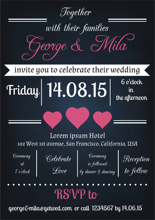 Vector flyer or invitation card template for wedding, engagement occasion in vintage style Illustration