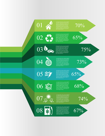 vector illustration of Modern spiral infographics options banners with icons concerning to ecology, pollution, energy and sustainable development themes Vector