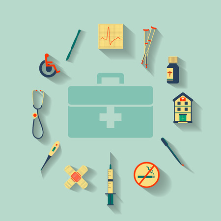 Vector set of flat icons set concerning to medicine, health, healthcare and other medical themes Vector