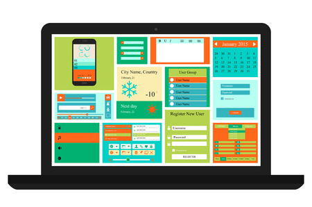 Vector Templates for website, made in Flat Web Design with buttons, calendars and icons,  includes one page website templates and flat design concept illustrations