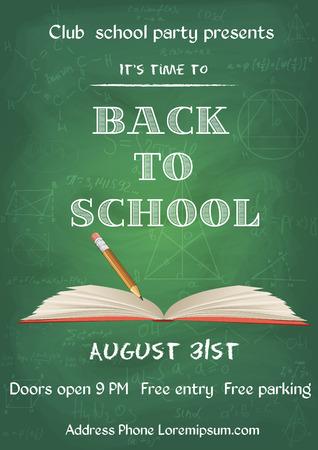 vector illustratie van Terug naar school groene krijtbord flyer in vintage stijl