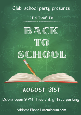 vector illustration of Back to school green chalk board flyer in vintage style