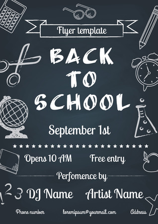 vector illustration of Back to school blue chalk board flyer in vintage style  イラスト・ベクター素材