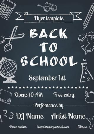 vector illustration of Back to school blue chalk board flyer in vintage style Illustration