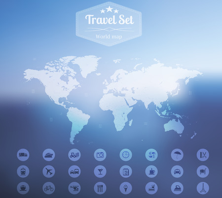 Vector illustration of Travel web and mobile interface template in Minimalistic style with  world map and icons set on blurred background  Vector