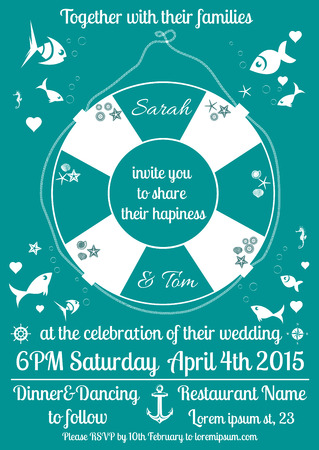 Vector illustration of wedding, birthday invitation decorated with marine theme details Vector