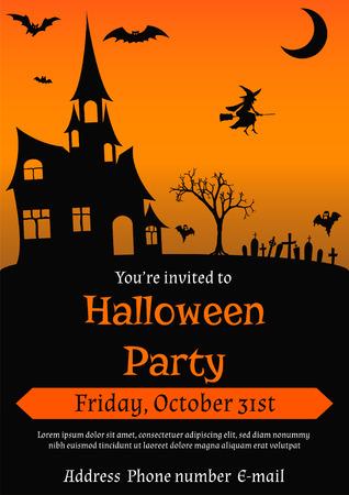 お化け屋敷、コウモリ、魔女、幽霊やその他のハロウィーンのシンボルで飾られたビンテージ スタイルのハロウィーン パーティーの招待状のイラス