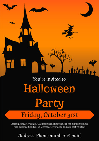 illustration of Halloween party invitation in vintage style decorated with haunted house,  bats, witch, ghosts and other Halloween symbols Vettoriali