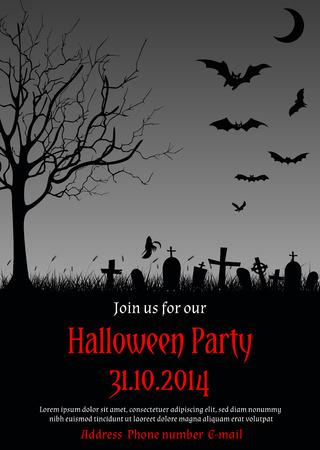 illustratie van Halloween party in gotische stijl versierd met achtervolgd boom, graven, vleermuizen, spook en andere symbolen van Halloween
