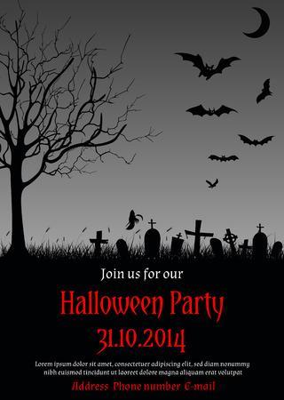 illustration of Halloween party invitation in gothic style decorated with haunted tree, graves, bats, ghost and other Halloween symbols