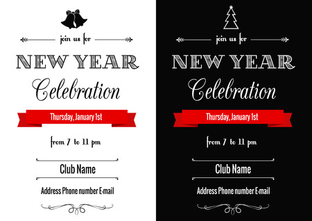 new year poster: set of two contrast New Year invitations in art deco style Illustration