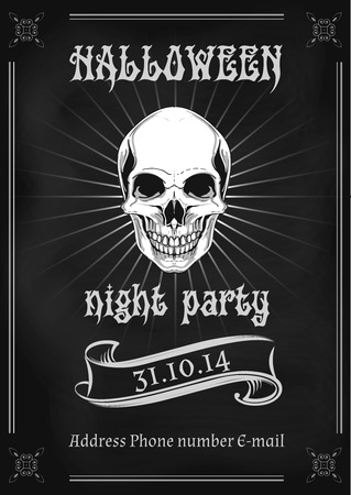 illustration of Halloween party invitation in gothic style decorated with skull and vintage elements 일러스트