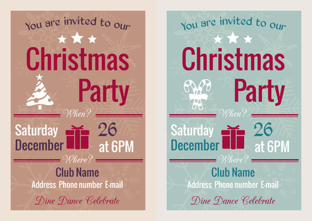 set of Christmas party invitation in vintage style decorated with Christmas tree and snowflakes Vector