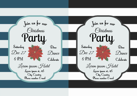 illustration of Christmas party invitation decorated with Christmas flower