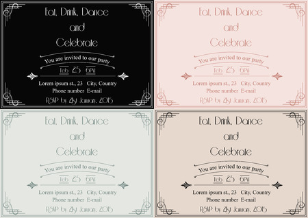 set of four party invitations in art deco style Vector