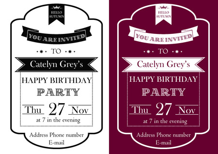 Vector set of Vintage Birthday Party invitation