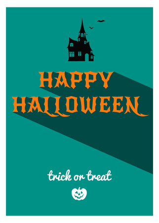 halloween castle: Vector illustration of vintage Halloween party poster with long shadow Illustration