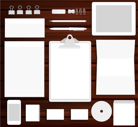 Vector illustration of white stationary or branding identity mock up on wooden background
