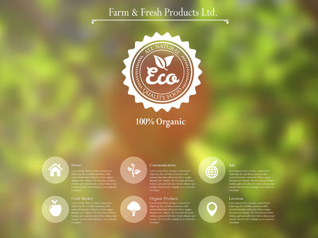 vector web interface template and mobile app design with retro label for organic food and  blurred effect background. Illustration