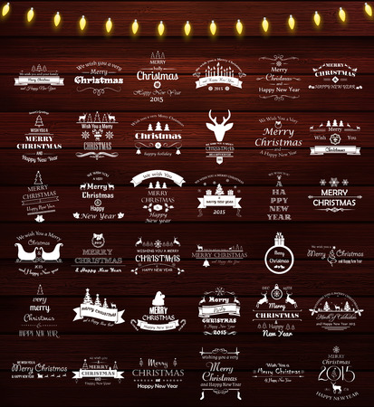 christmas bulbs: Vector set of 36 retro elements for Christmas calligraphic designs. Vintage labels and emblems for Christmas  and New Year holidays on wooden background Illustration