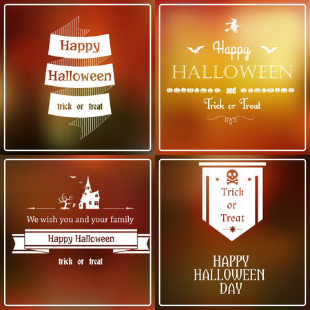 Vector set of Halloween emblems on blurred background