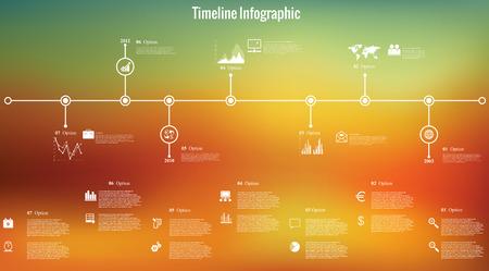 Vector illustratie van de tijdlijn infographics met 8 pictogrammen, 1 kaart van de wereld en 3 verschillende soorten diagram op onscherpe achtergrond. In totaal bevat 8 groepen van elementen, die kunnen worden ongegroepeerde, gecombineerd of recolored. Stock Illustratie