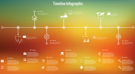 Vector illustration of timeline infographics  with 8 icons, 1 world map and 3 different kinds of diagram on blurred background. Altogether file contains 8 groups of  elements, which can be ungrouped, combined or recolored.