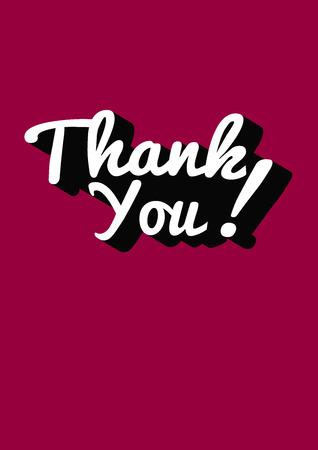 Vector illustratie van de Thank You hand belettering handgemaakte kalligrafie met schaduw