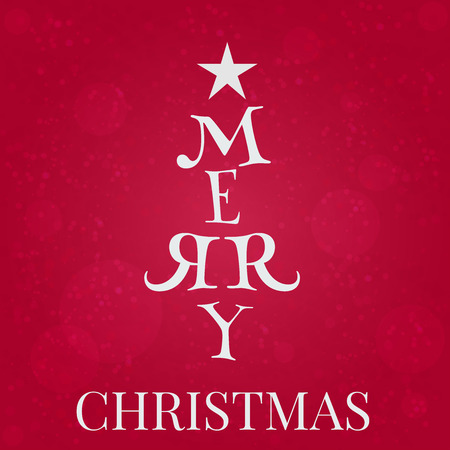 """merry christmas text: Ilustraci�n vectorial de texto """"Feliz Navidad"""" en una forma de �rbol de Navidad"""