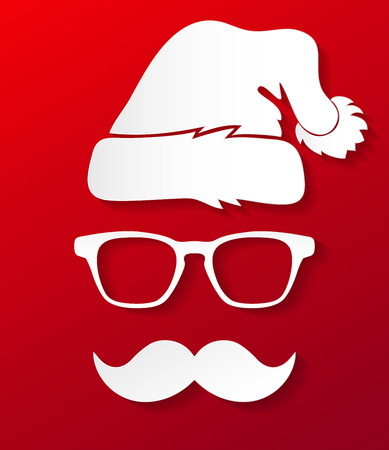 Vector illustration of paper Santa Claus  silhouette in hipster style