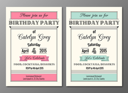 Vector set of art deco birthday party invitations design template