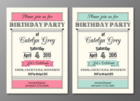 fond de texte: Vector set de l'art d�co invitations de f�te d'anniversaire mod�le de conception