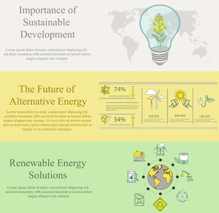 desarrollo sustentable: vector conjunto de conceptos de diseño planas para web banners y materiales de impresión de la ecología, la contaminación, la energía y los temas de desarrollo sostenible Vectores